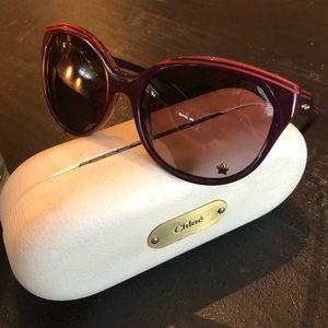 Chloe EUC CL 2180 Plum & Pink Star Sunglasses